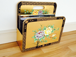 Gold Leaf Magazine Rack with Hand Painted Floral Design