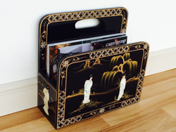 Black Lacquer Magazine Rack with Mother of Pearl