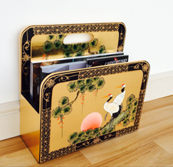 Gold Leaf Magazine Rack with Hand Painted Cranes Design