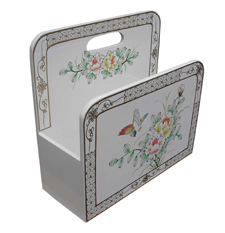 White Lacquer Magazine Rack with Hand Painted Flower & Bird Design