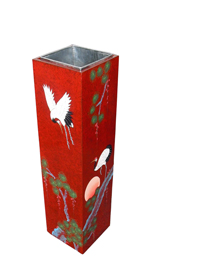Red Lacquer Umbrella Holder / Stand with Cranes design
