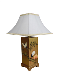 Gold Leaf Square Lamp with Cranes Design - with Shade