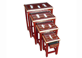 Red Lacquer Nest of Tables with Glass