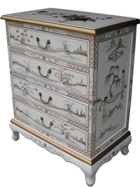 Mother of Pearl Chest Of 4 Drawers/White