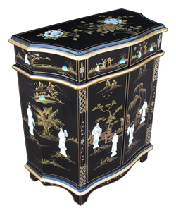 Shaped Lacquer Cabinet w/Mother of Pearl