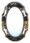 Lacquer Mirror w/Mother of Pearl Carvings