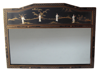 Large Mother of Pearl Black Lacquer Mirror