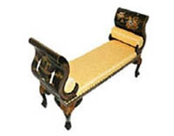 Mother of Pearl Lacquer Bench w/Gold inlaid Cushion