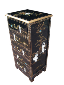 Black Lacquer Tall Chest of Drawer
