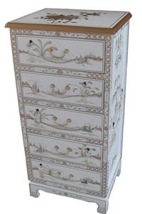 Mother of Pearl Chest Of Drawers/White