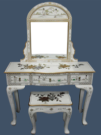 Mother of Pearl Dressing Table with Mirror & Stool