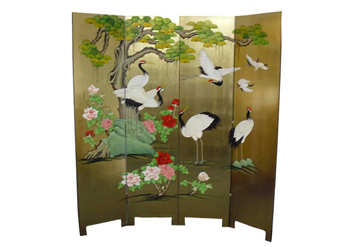Gold Leaf Screen with Cranes Design