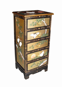 Gold Leaf Tall Chest of Drawer