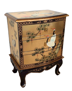 Gold Leaf 3 Drawer Side Chest