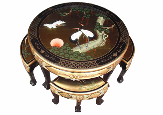 Gold Leaf Round Coffee Table With 4 Nesting Stools and Glass Top