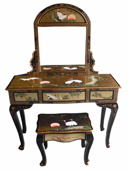 Gold Leaf Dressing Table Set w/Mirror & Stool