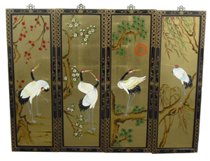Gold Leaf Set of 4 Wall Hangings with Cranes Design, Wall Plaques