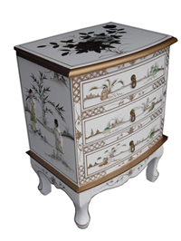 Mother of Pearl 3 Drawer Chest/White